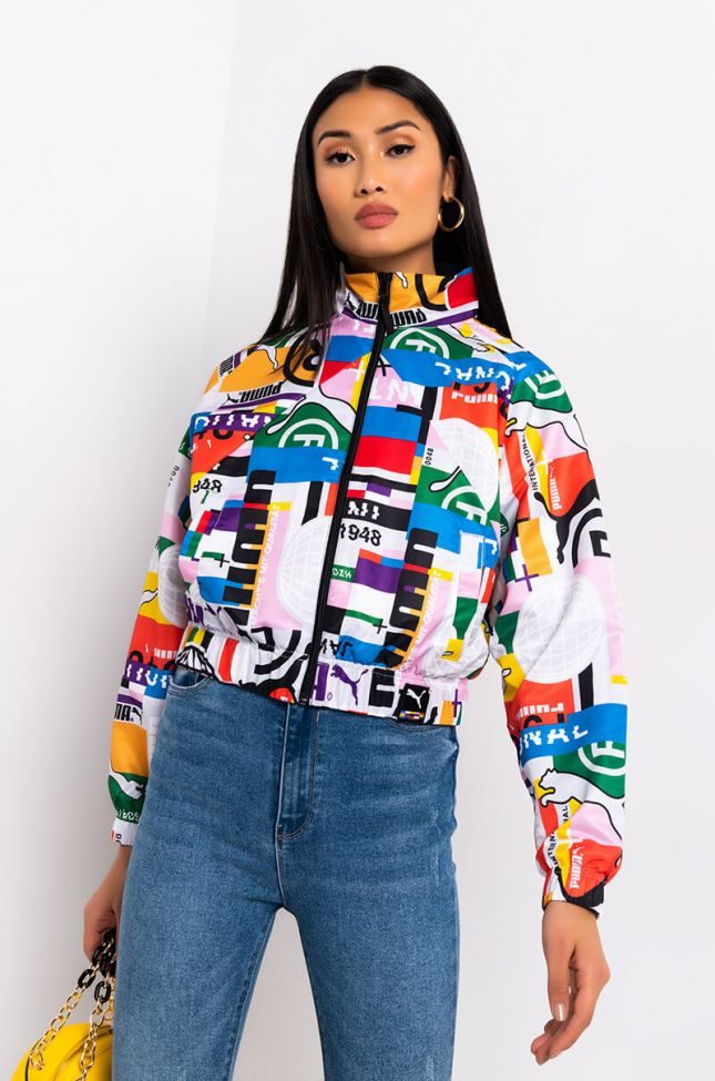 Side View Puma International Games All Over Print Woven Track Jacket in White Multi