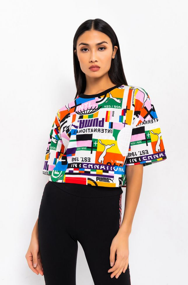 Front View Puma International Games Pi Aop Crop Tee in White Multi