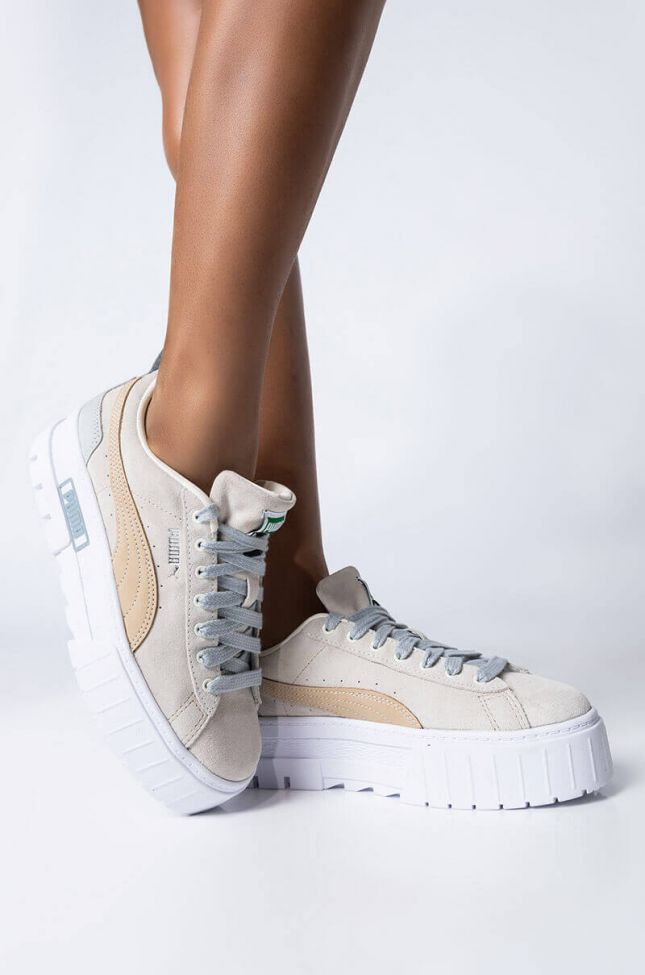 Front View Puma Mayzeluxe Sneaker in Tan