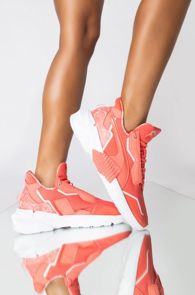 Front View Puma Provoke Xt Untamed Floral Sneaker in Pink