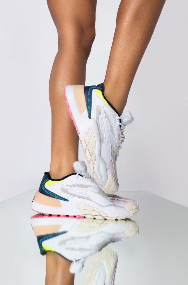 Front View Puma Rs Fast Safari Sneaker in White Multi
