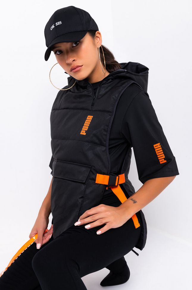 Front View Puma Womens Central Saint Martins Padded Hoodie Vest in Puma Black