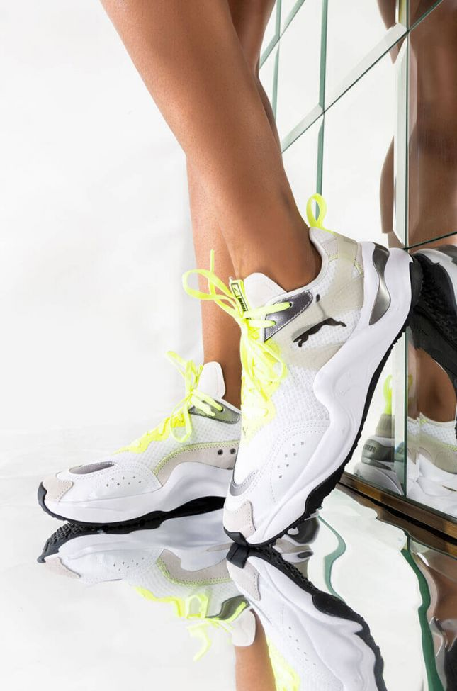 Front View Puma Womens Rise Mixed Metallic Sneaker in Puma White Fizzy Yellow
