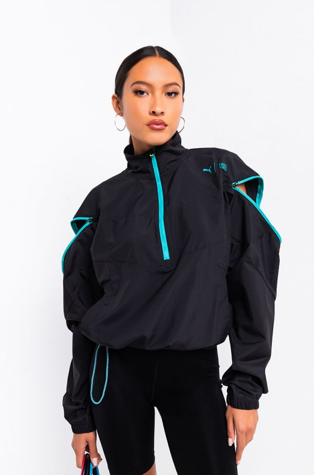 Front View Puma Womens Train First Mile Xtreme Jacket in Puma Black