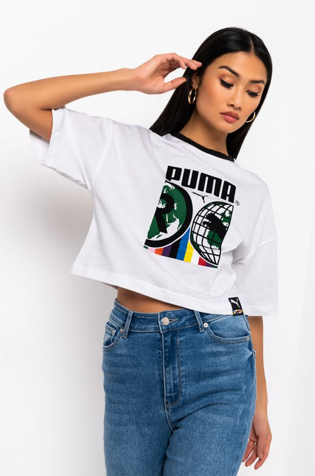 Front View Puma World Graphic Crop Top in White Multi