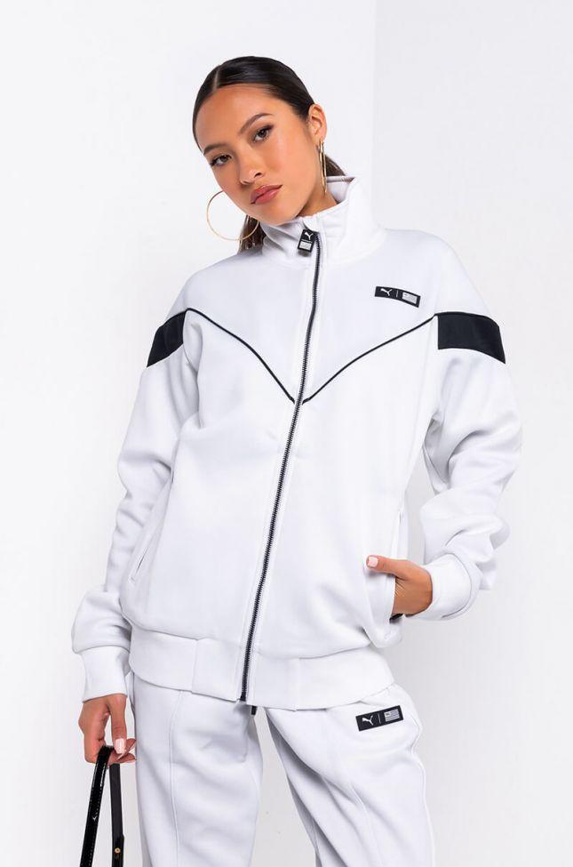 Front View Puma X Tmc Nipsey Hustle Track Jacket in White Multi