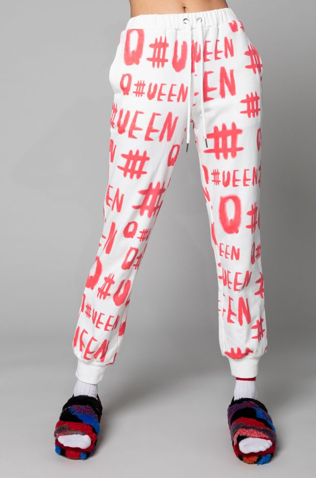 Front View Queen Drawstring Jogger in White Multi