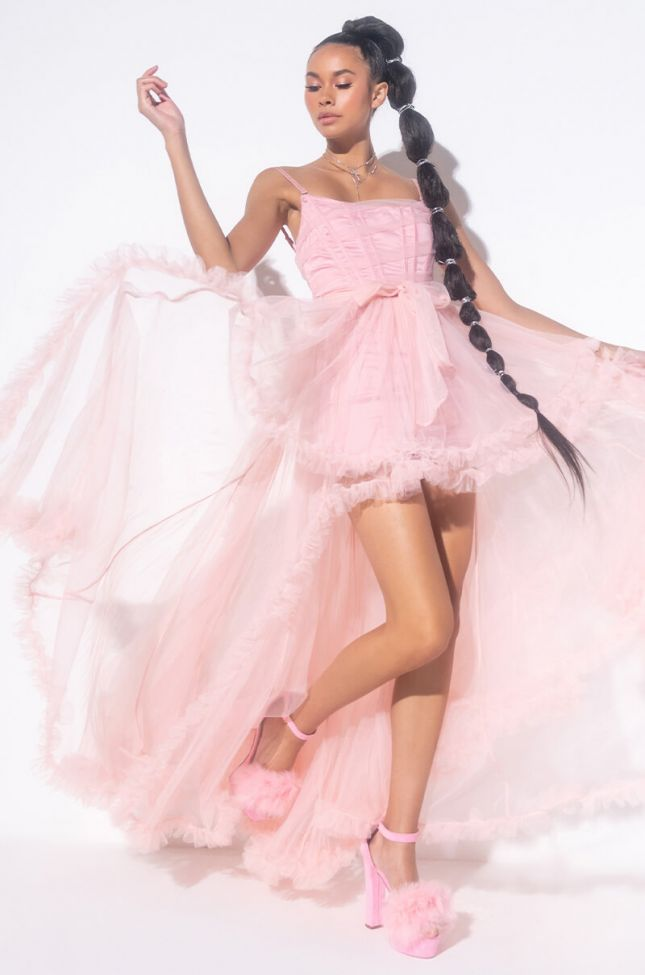 Side View Queen Essentials High Low Dress in Pink