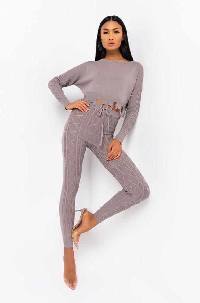 Full View Queen Of Cozy Cable Knit Detail Pant in Grey