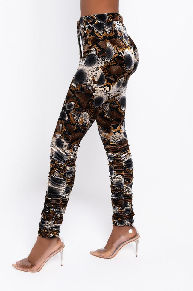 Side View Queen Of Luxe Velvet Stacked Leg Jogger in Brown Multi