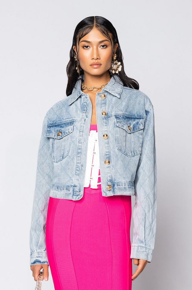 Front View Quilted Denim Jacket in Light Blue Denim