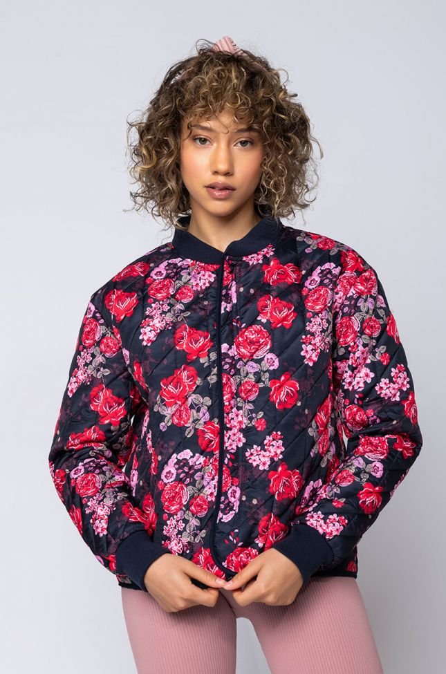 Front View Quilted Floral Bomber in Black Floral