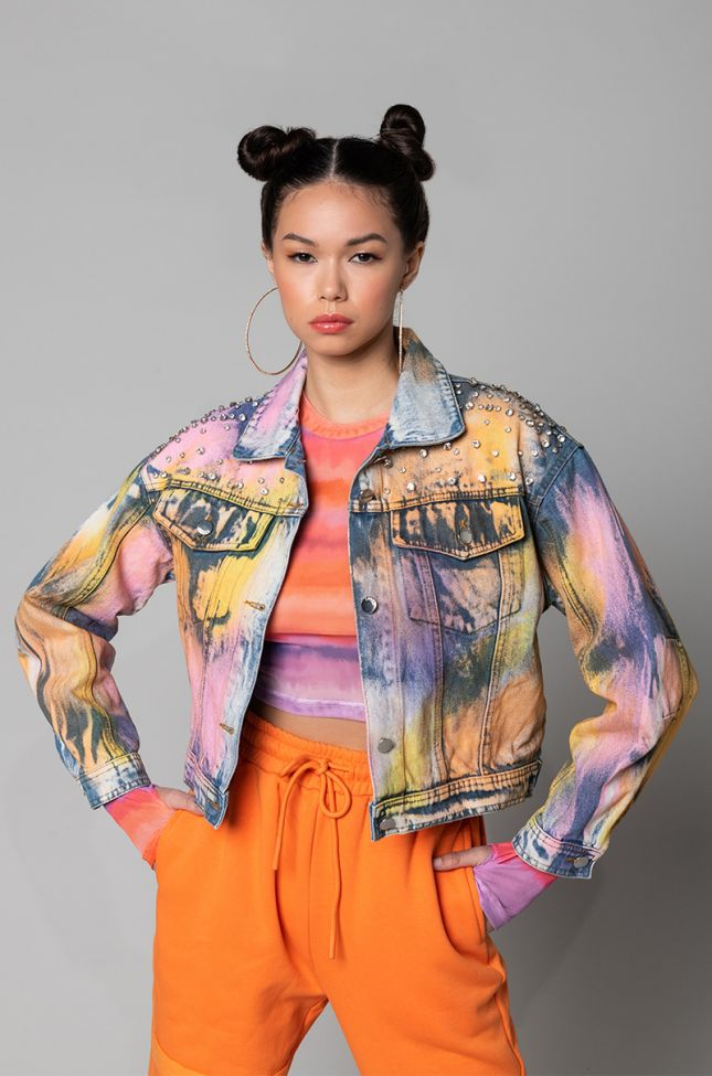 Side View Rags To Riches Rhinestone Detail Denim Jacket in Multi