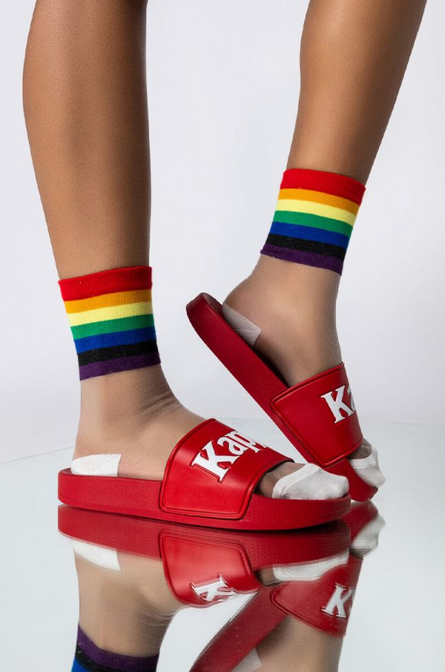 Front View Rainbow Love Sheer Ankle Socks in White Multi