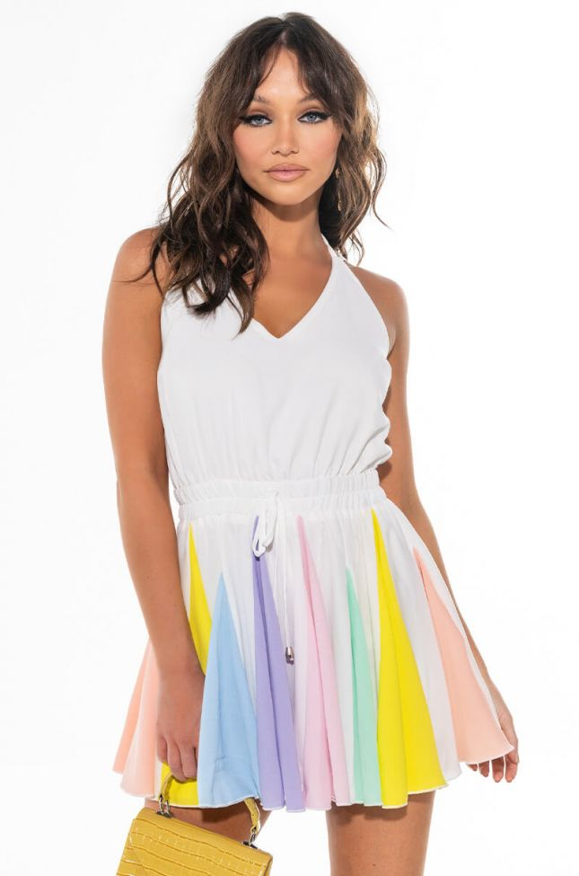 Front View Rainbow Vibes Pleated Romper
