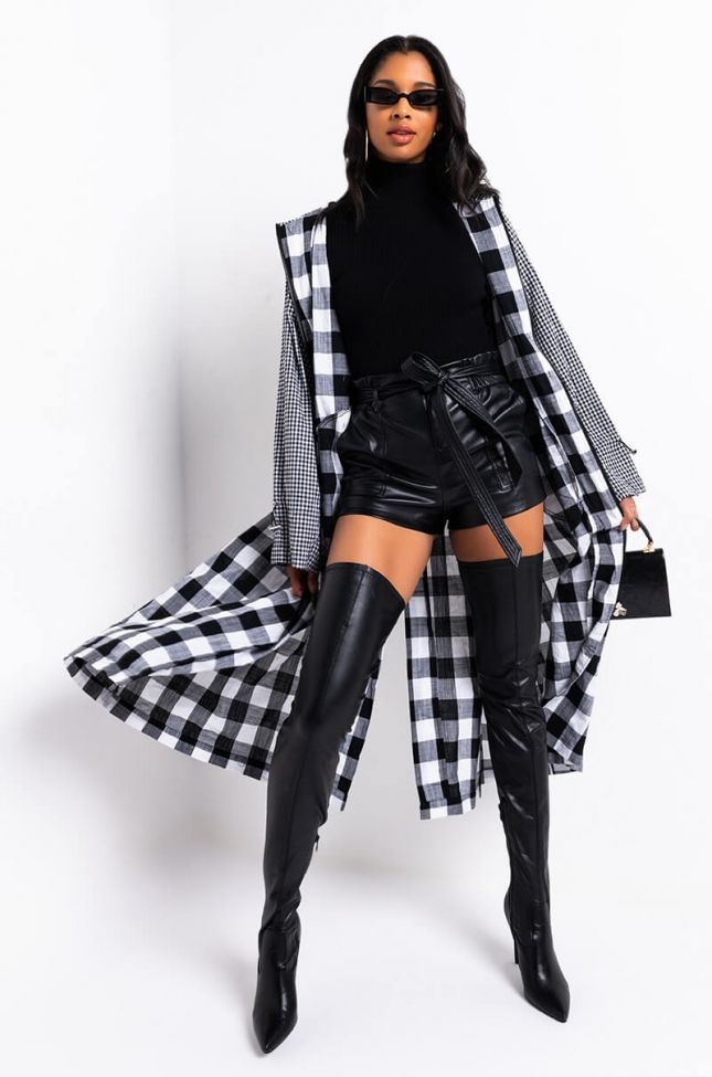 Back View Raise The Stakes Double Print Trench in Black White