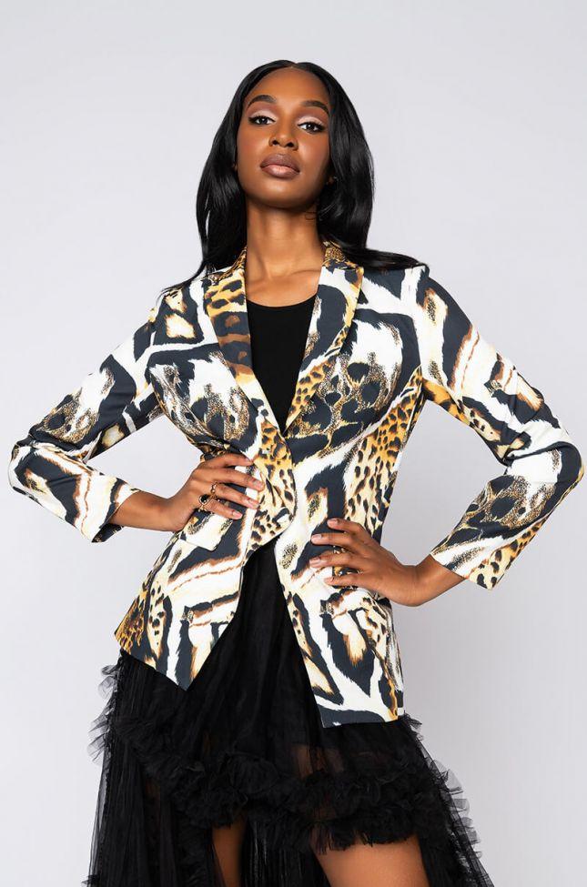 Side View Rare Leopard Blazer in Brown Cheetah