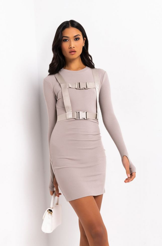 Front View Ready For Action Long Sleeve Belted Mini Dress in Taupe