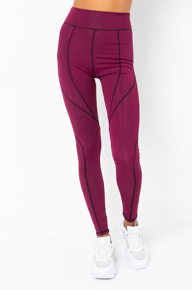 Front View Ready For Anything Tracksuit Leggings in Burgundy