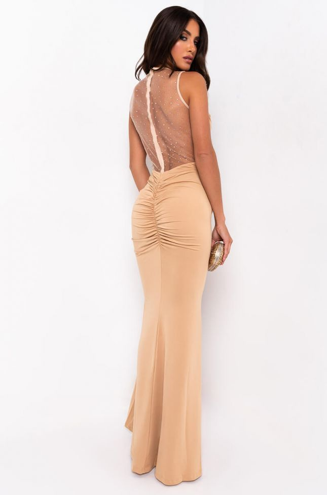 Detail View Ready For My Close Up Mesh Rhinestone Maxi Dress With Front Ruch in Beige
