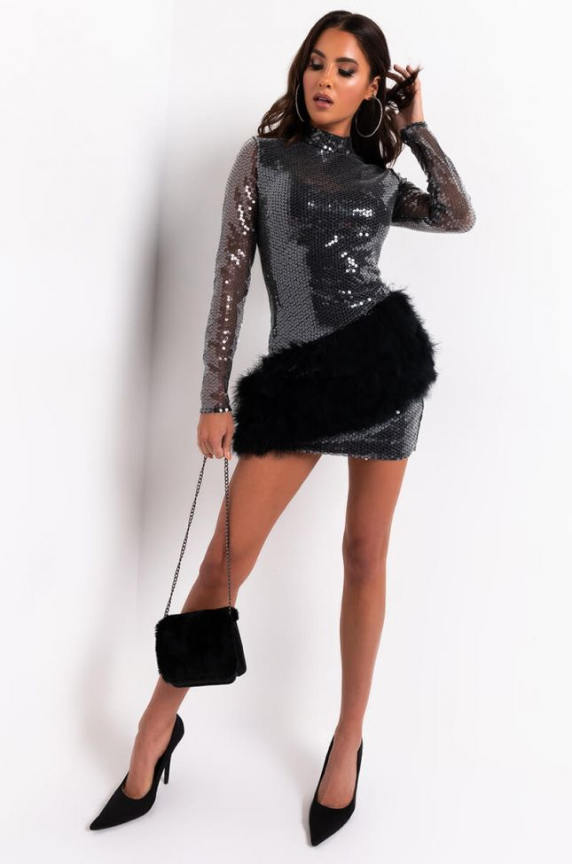READY TO PLAY LONG SLEEVE SEQUIN MINI DRESS WITH FAUX FUR