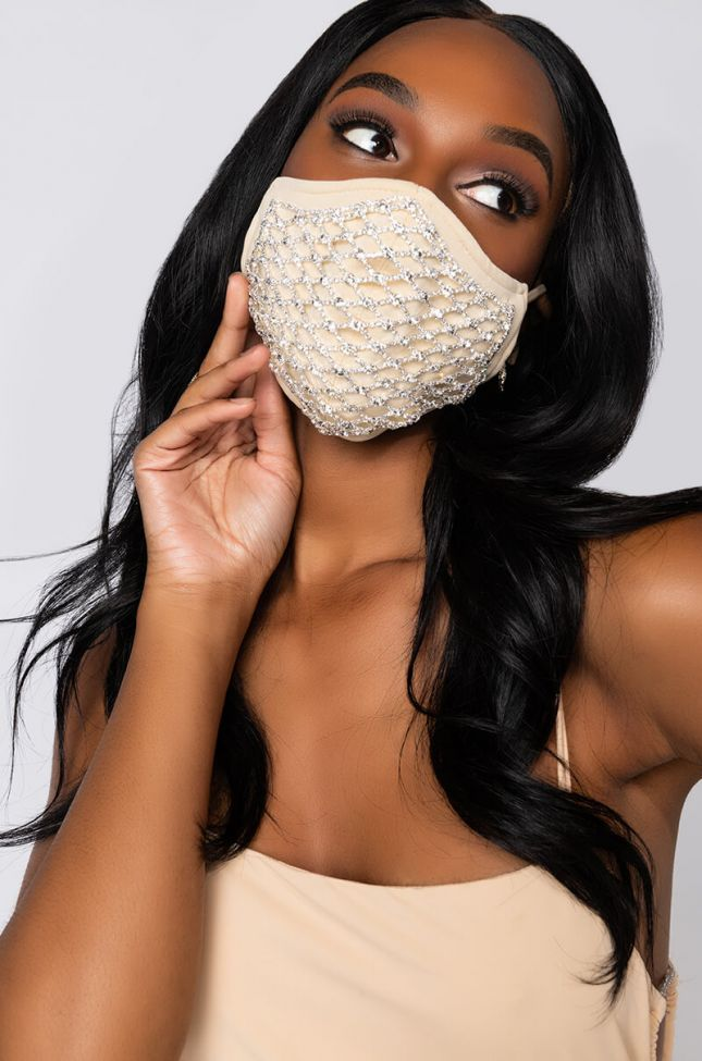 Front View Ready When You Are Rhinestone Fashion Face Cover in Nude