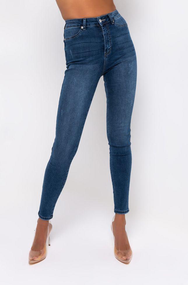 Front View Rebeca Ultra High Rise Skinny Jeans in Medium Blue Denim