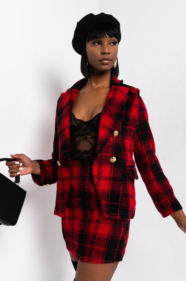 Front View Rebel With A Cause Plaid Blazer in Black Red