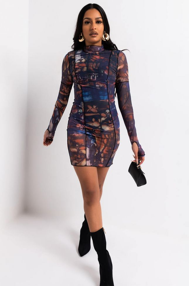 Full View Renaissance Print Mesh Mini Dress in Black Multi