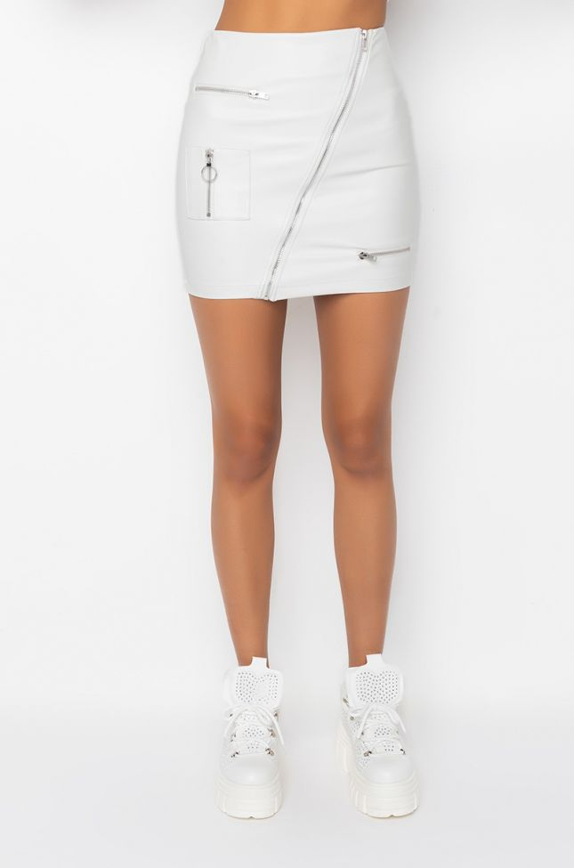 Front View Revolution Faux Leather Mini Skirt