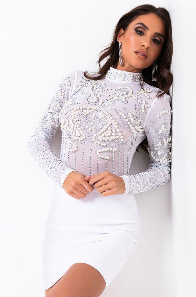 Front View Rhinestone Dreamin Pearl Long Sleeve Mesh Bodysuit in White