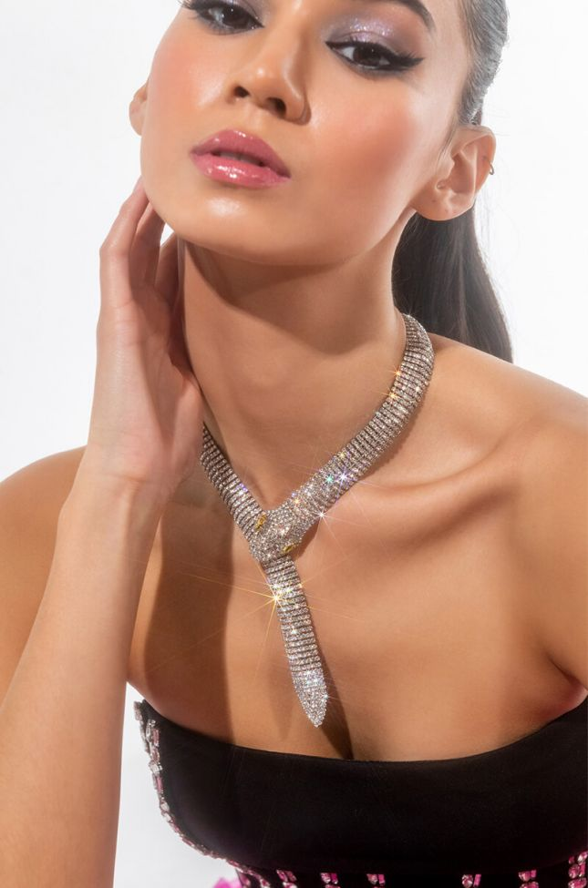 Front View Rhinestone Snake Necklace