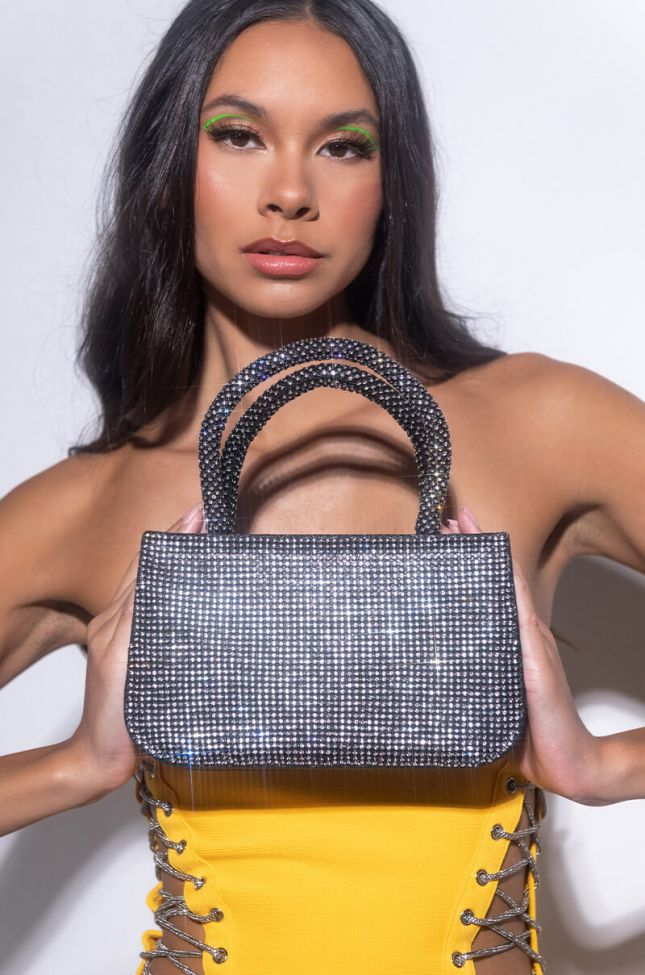 Front View Rhinestone Top Handle Purse