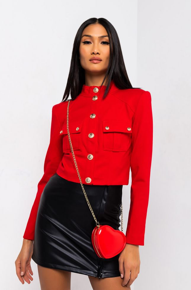 Side View Rhythm Nation Button Up Blouse in Red
