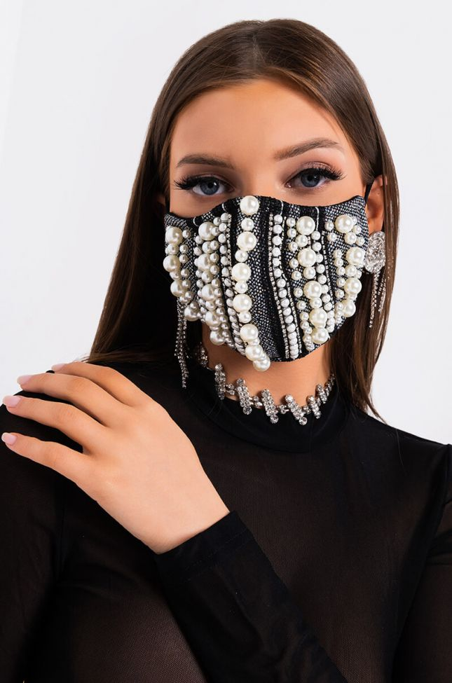 Front View Rich Af Pearl Rhinestone Fashion Face Cover in Black