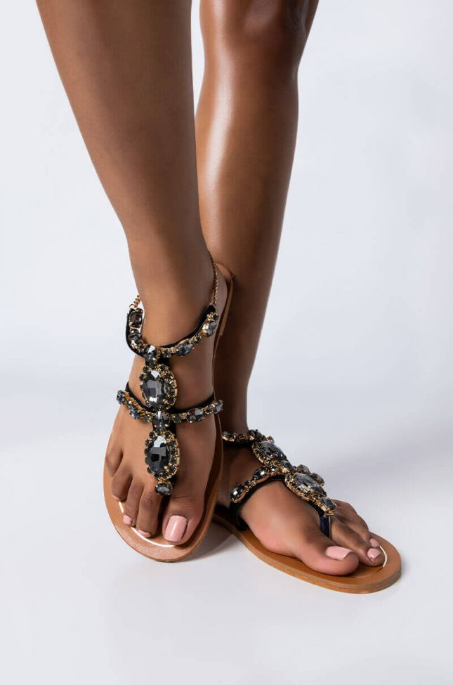 Front View Rich Girl Flat Sandal in Black