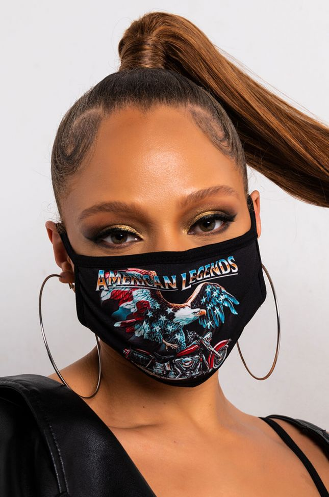 Front View Ride Or Die Fashion Face Cover in Black