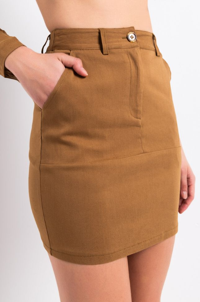 Detail View Ride With Me Utility Mini Skirt in Brown