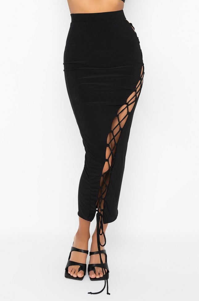Front View Right My Wrongs Maxi Skirt With Lace Ups in Black