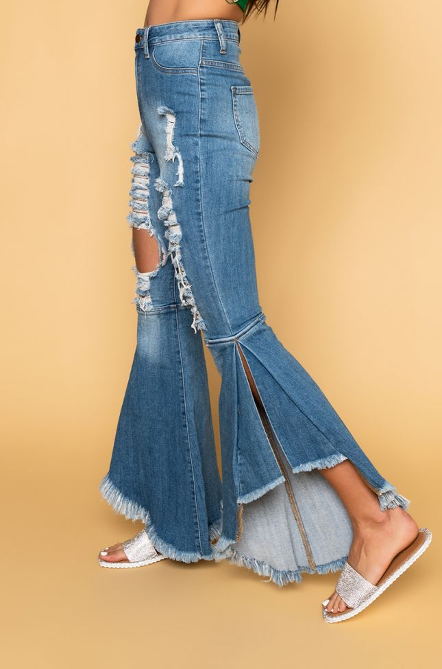 Right On High Waisted Flare Jeans in Medium Blue Denim