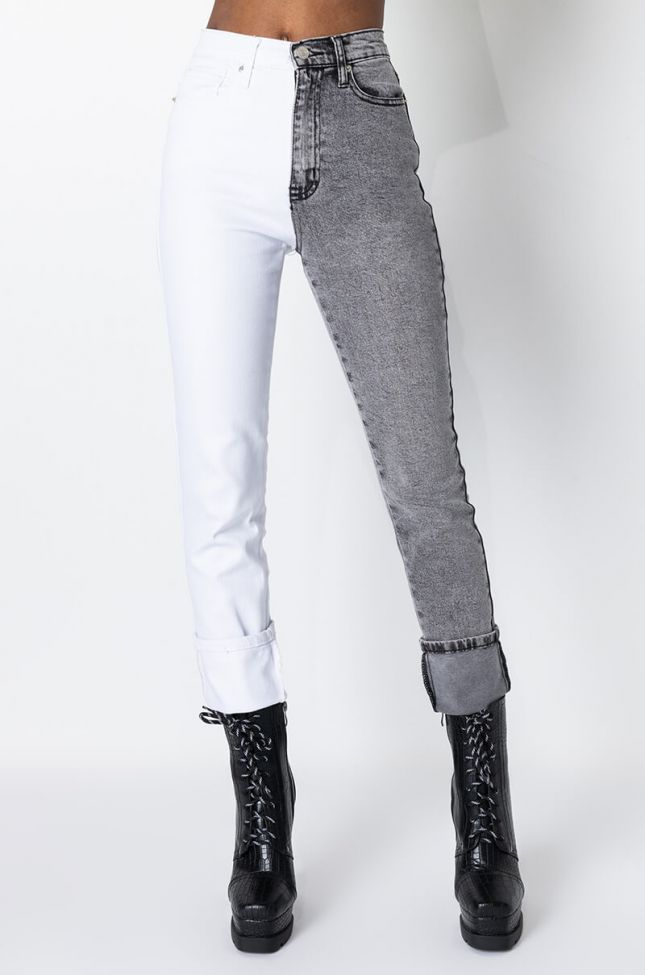 Front View Right Or Left High Rise Skinny Jeans in White Multi
