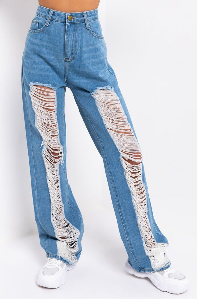 Front View Right Up My Alley High Waist Distressed Jeans in Medium Blue Denim