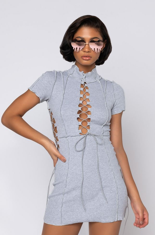 Front View Riley Ribbed Lace Up Mini Dress in Heather Grey