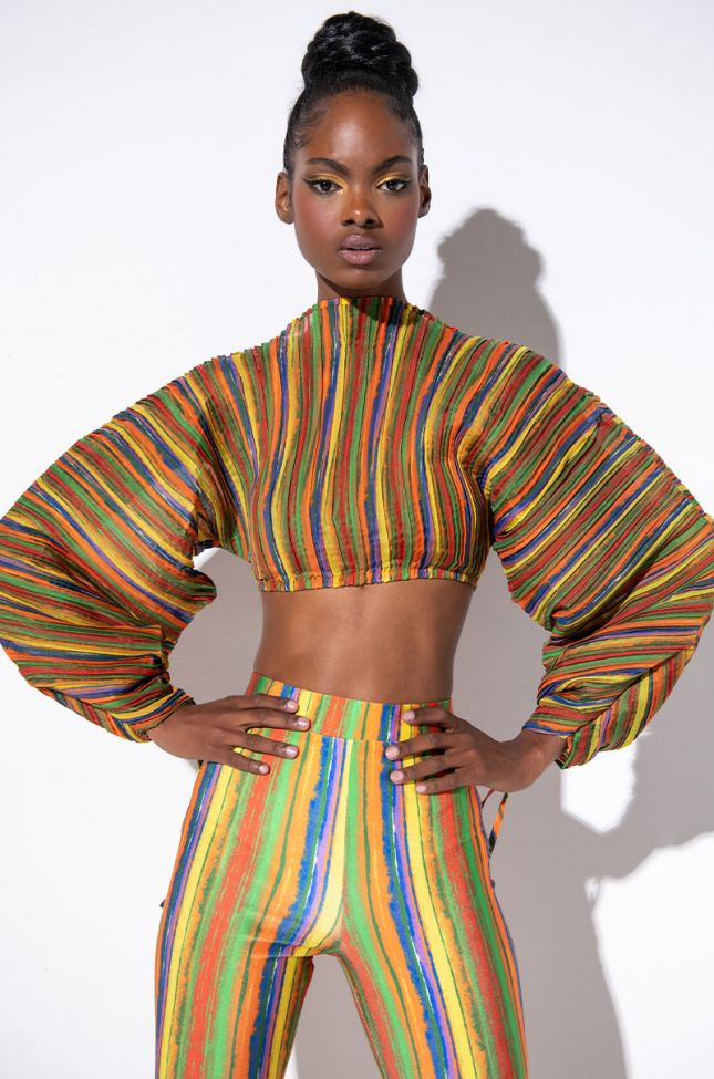Front View Rise And Shine Multi Color Fashion Blouse in Brown Multi