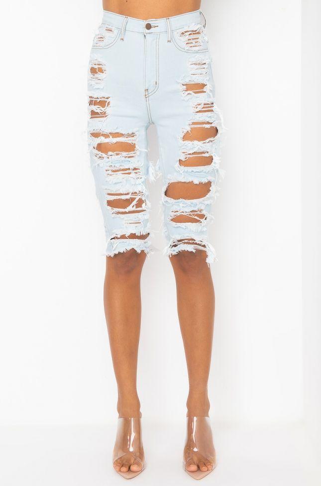 Front View Riviera High Rise Distressed Denim Shorts in Light Blue Denim