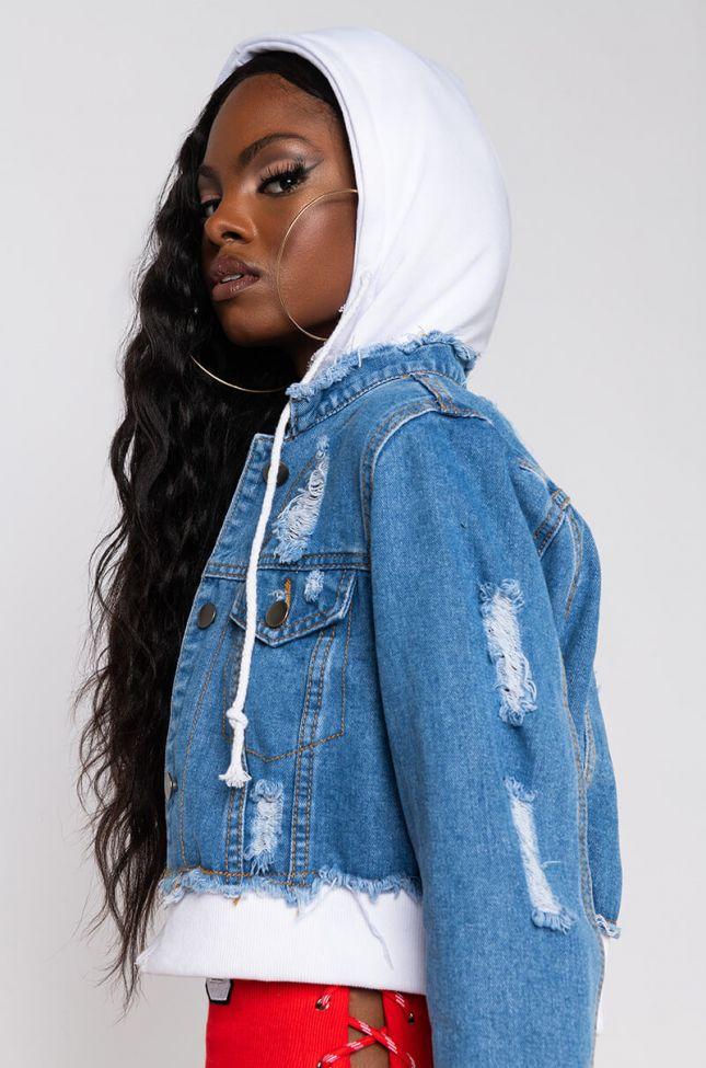 Roadtrippin Crop Denim Jacket With Hood in Blue White Blue