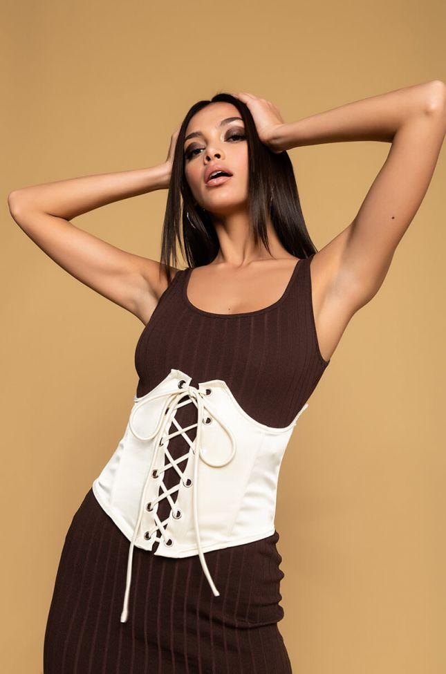Side View Roll With Us Lace Up Corset in White