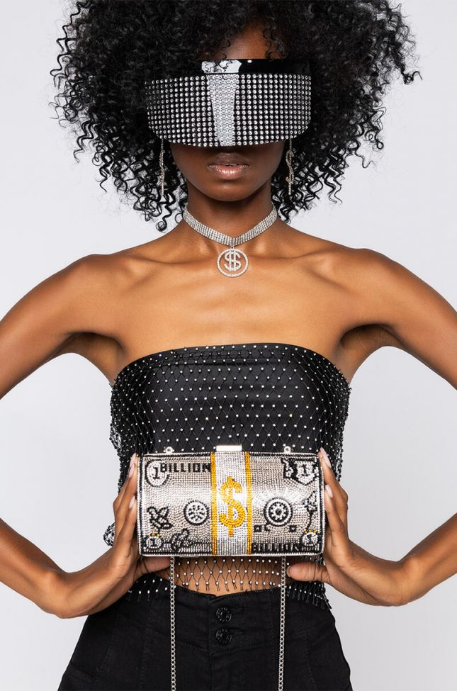 Front View Rolled A Stock Rhinestone Clutch in Gold Silver