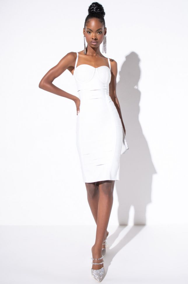 Front View RosÉ Bandage Midi With Cut Out in White