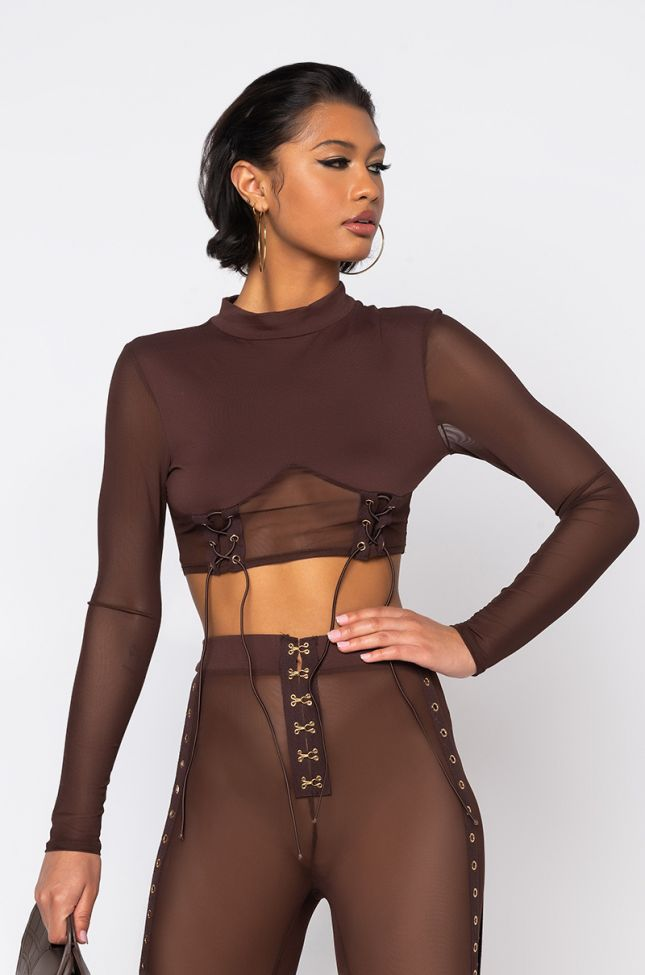 Front View Rough Around The Edges Mesh Lace Up Long Sleeve Top in Brown